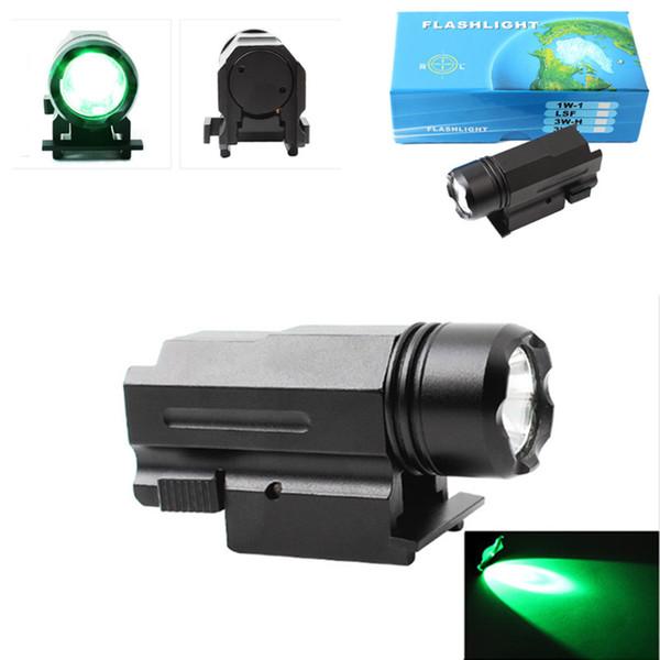 Taktik Yeşil ışık LED tabanca el feneri mini tam metal 20mm kart yuvası süspansiyon Tarzı yeşil ışık tüpü taktik fener