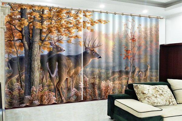 best selling 3d Curtain Window Promotion Happy Spiritual Deer In The Golden Forest Customize Your Favorite Practical Curtains