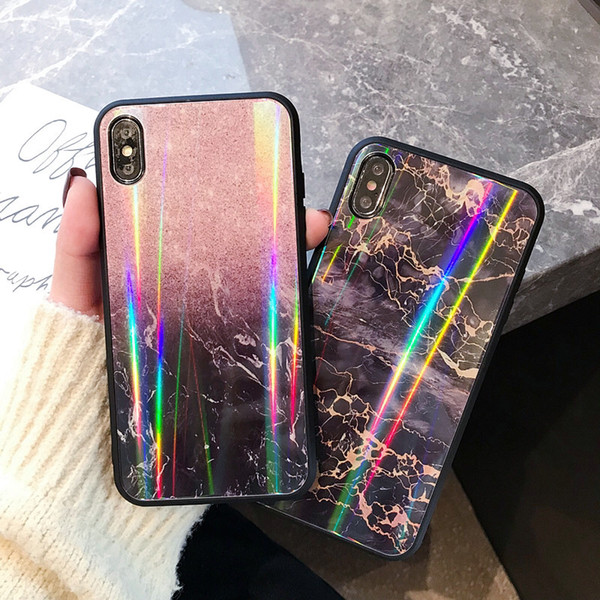 Luxury Designer 3D Marble Tempered Glass Holo Case For IPhone X XS MAX XR 8  7 For I Phone 6 6S PLus Hologram Phone Cases Couple Cover Personalized