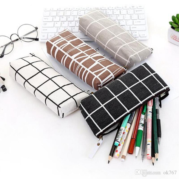New version large-capacity student pencil case Simple canvas Pencil Bag student stationery case New free shipping