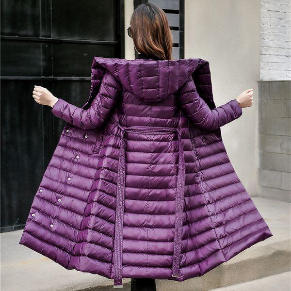 19362caa1f4 2019 Down Jacket Feminino Vintage A linha Casaco Ultraleve de Inverno Para  Baixo Casaco Mulheres Parka