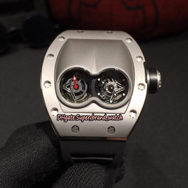Cheap Alta Qualidade RM 053 Único duplo Dial Swiss Quartz Movimento Mens Watch RM053 316L Caixa De Aço Inoxidável Preto Rubber Sport Relógios