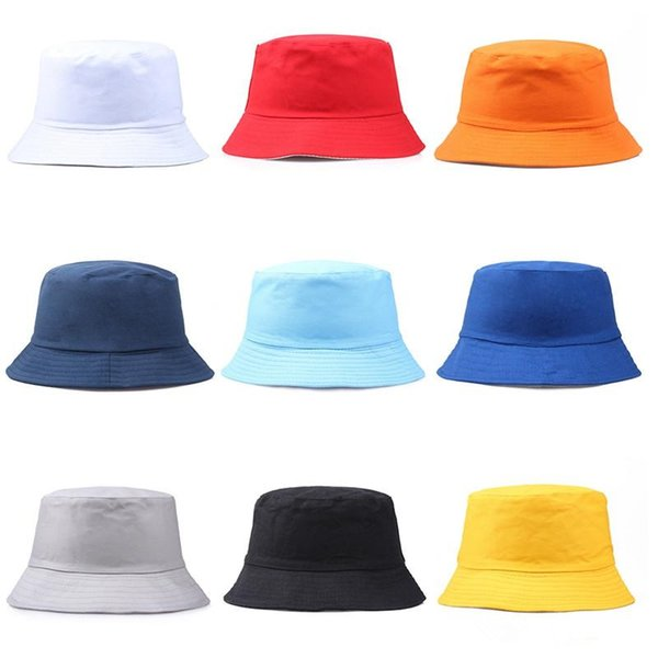 Travel Fisherman Leisure Bucket Hats Solid Color Fashion Men Women Flat Top Wide Brim Summer Cap For Outdoor Sports Visor YD044