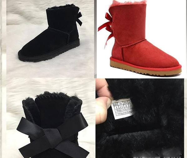 HEIßE Frauen Schneeschuhe Australischen Stil Leder 2 Bogen Kuh Wildleder Zurück Winter Bowtie Dame luxus Kurze Stiefel Marke IVG Modedesignerschuhe