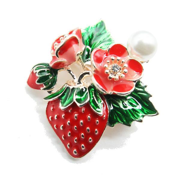 Neue modische farbige Emaille Erdbeer Brosche Schmuck mit Pin Brosche