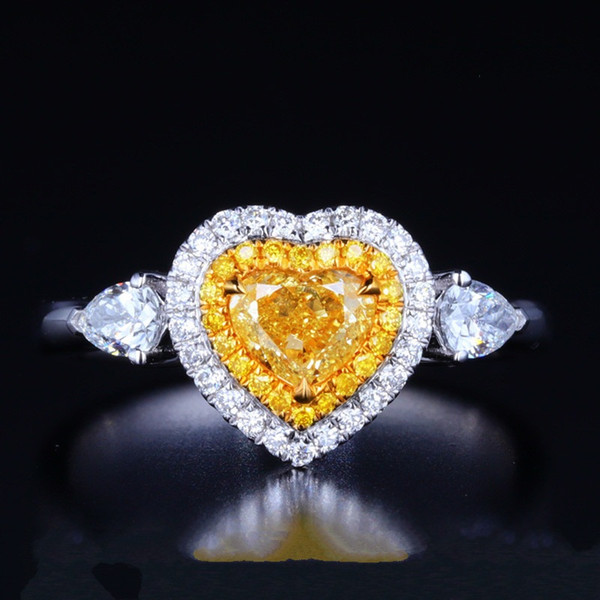 925 SILVER pave setting yellow Gemstone Crystal Heart Shape Simulate Diamond Women Engagement ring Love Promise Jewelry Gift For Lady