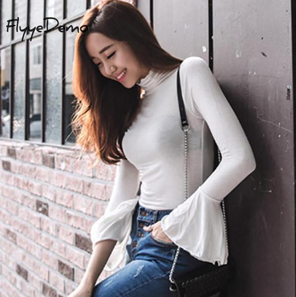 2019 Frühlingsmode Feste farben Frauen T-shirts Lange Aufflackernhülse Schlank Rollkragen Weiß Balck Shirts Frauen Tops Hohe Qualität