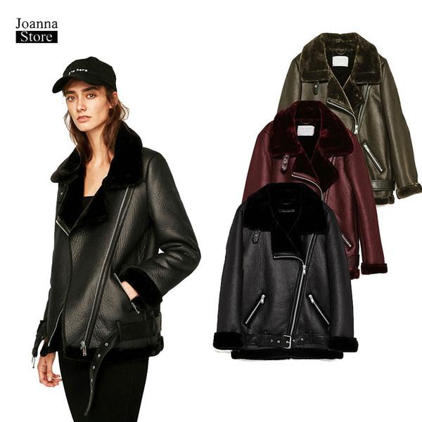 Kunstleder Pelzjacke Frauen plus Größe Biker Jacke Schärpen lange Vintage elegante Jacken schlanke Damen Ledermantel Winter dick