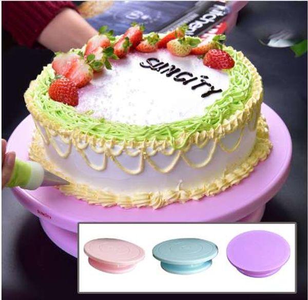 HIFUAR 28 cm torta di plastica giradischi rotante decorazione giradischi antiscivolo rotonda torta stand caek tavola rotante strumento di cottura