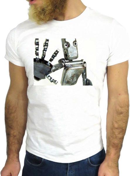T SHIRT JODE Z3397 ROBOT STOP HAND FUNNY AMERICA BOT FREDDO MODA GGG24 Uomo Donna Unisex Fashion tshirt Spedizione Gratuita Divertente Fresco