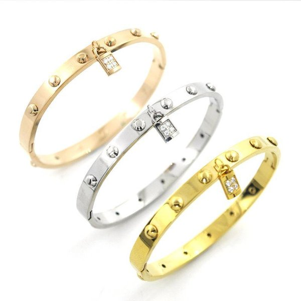 New Fashion Crystal Lock Charms Bracelets Bangles for Women Titanium Trend Stainless Steel Bangle Magnetic Simple Korean Style