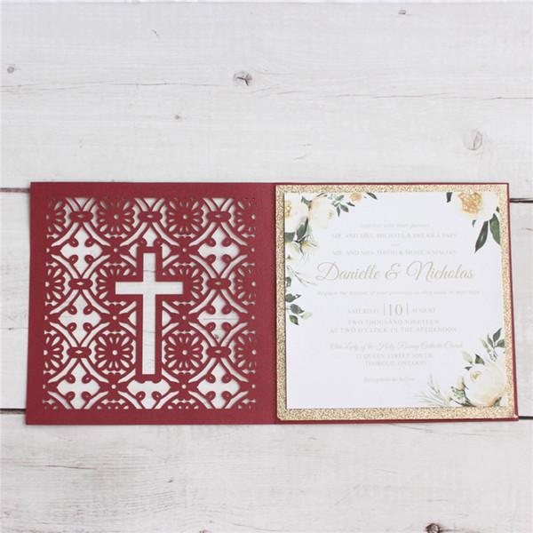 Ид-уль-фитр поздравительная открытка приглашение крест лазерная резка несколько цветов настроить печать 50 шт.
