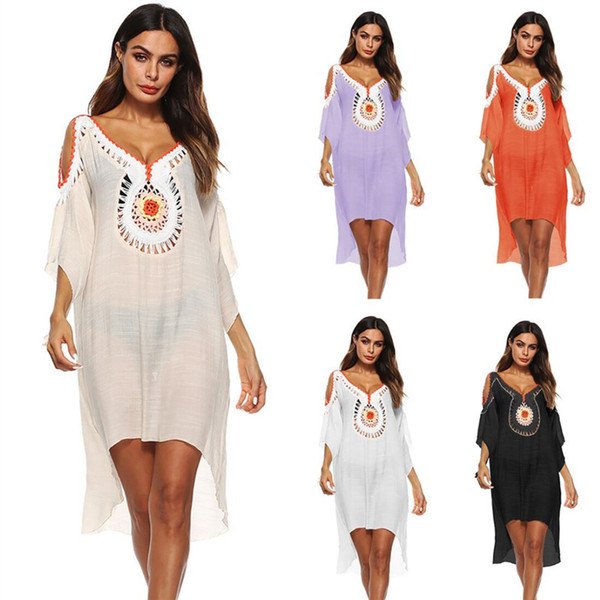 Summer Women Tunic Sexy Deep V Neck Hollow Out Cold Shoulder Front Short Back Long Dress Beach Cover Up Sarong A7 Q190521