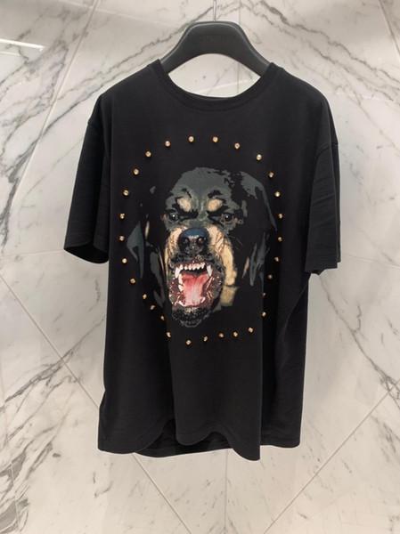 2019ss die neuesten Marken Mens 1: 1 Shop-Qualität T-Shirts großer Hund Muster T-Shirt mit Diamanten Kreis lässig Designer T-Shirt T-Shirts