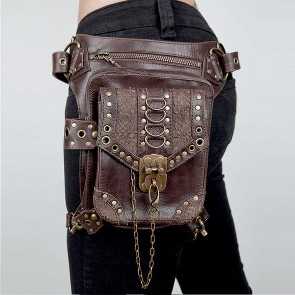 SteamPunk Leather Waist Bag Retro Brown Messenger Crossbody Bag Rock Men Women Gothic Fanny Packs Fashion Motorcycle Leg Bag