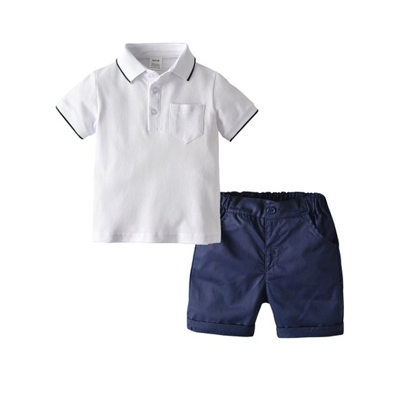 2019 new best selling children's clothing boy college wind cotton POLO shirt short-sleeved cardigan woven shorts two-piece suit