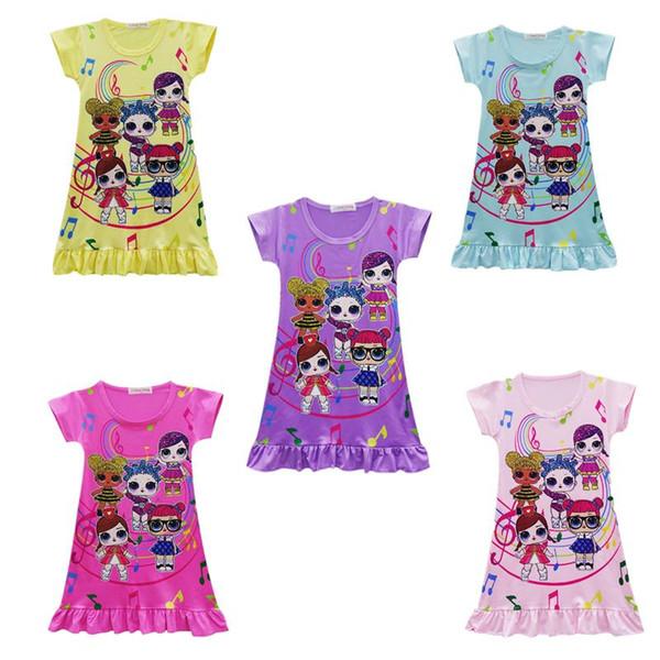 New styles Kids Dresses Surprise Girls Cartoon Middle Long Dresses Summer Short Sleeve Princess Dress Children Cute Round Neck Short Skirt