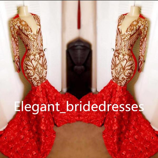 Real Sample Red Mermaid Prom Dresses Long 2019 Deep V-neck Gold Sequin Top 3D Flowers Africa Black Girl Long Sleeve Graduation Dresses