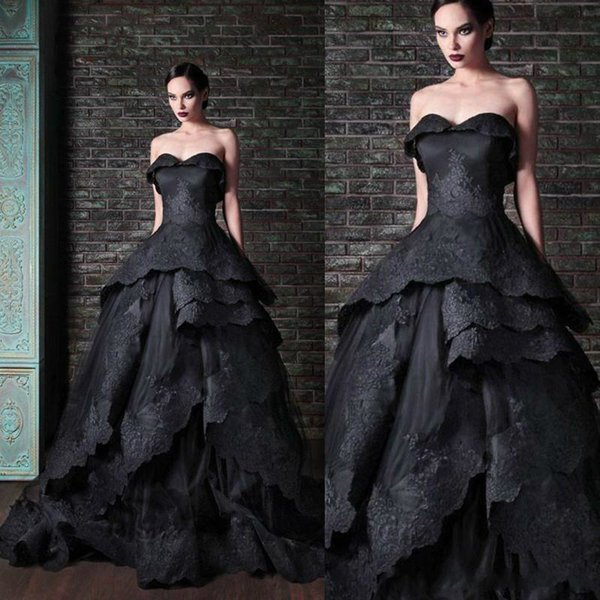 New Gothic Black Wedding Dresses Vintage Sweetheart Ruffles Lace Tulle Ball Gown Sweep Train Tie up Back Bridal Gowns Custom