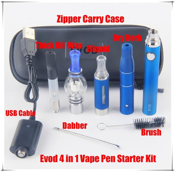 Evod 4 em 1 Bateria Dab Vape O Pen Erva Seca Vaporizador Mini Starter Kit Herbal Cera Carry Case 1100 mAh vs kangertech