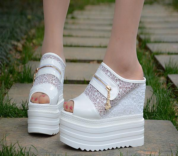 14CM клин супер высокий каблук увеличение в обувь кекс дно женская обувь водонепроницаемая платформа толстые сандалии и тапочки