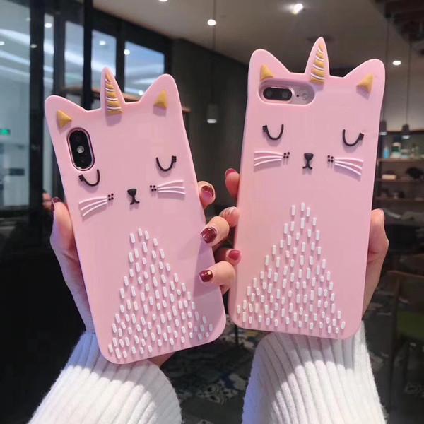 Coque 3D en Silicone pour Chat Rose pour IPhone X XS MAX XR 8 7 Coque 6 6S Plus Téléphone Couple Coquille Kawaii Mignon Luxe Designer Cas