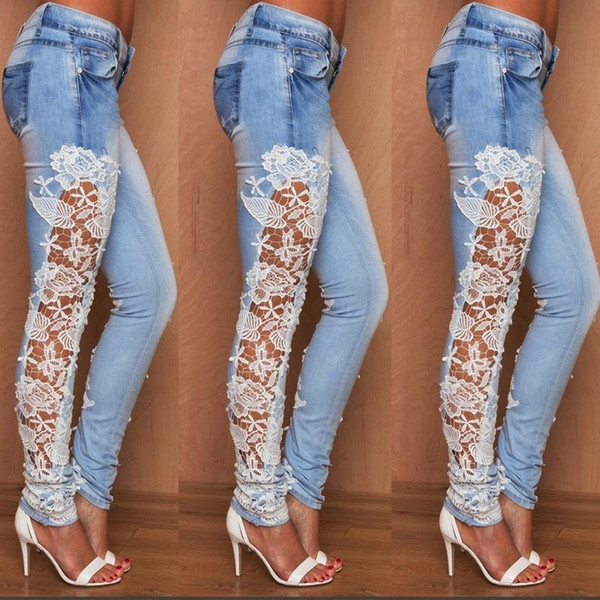 2017 Plus Size Fashion Jeans Hellblau Aushöhlen Lace Floral Seitennaht Stretch Denim Dünne Frauen Bleistift Jeans S-XL
