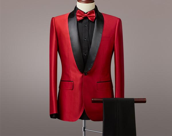 Cool One Button Groomsmen Shawl Lapel Groom Tuxedos Para hombre Vestido de novia Hombre Chaqueta Blazer Cena de baile Traje de 2 piezas (Chaqueta + Pantalones + Corbata) A103