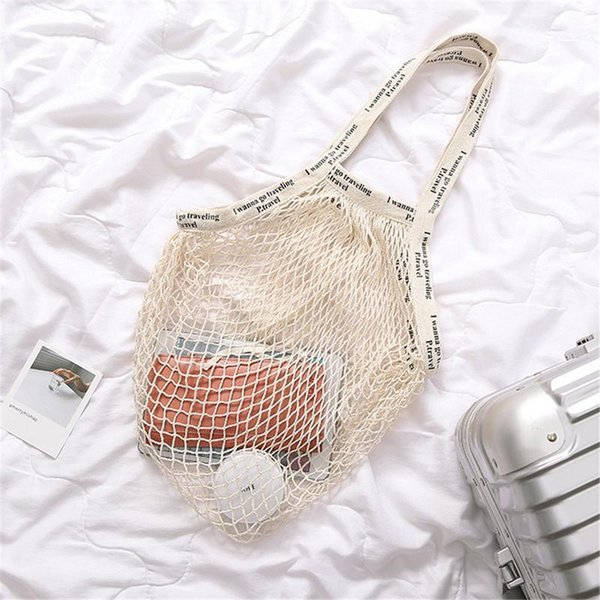 84bca992a5 Net Mesh Shopping Bag Pure Cotton Shopping Bags European American Style Fashion  Purse Shopper Bag For Women Ladies Girls Purse