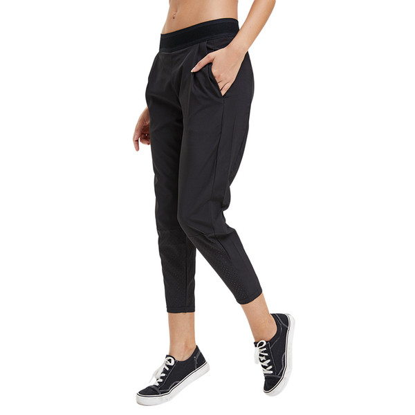 Women Sport Pant Loose Casual Black Yoga Running Sweatpants with Pockets MC889