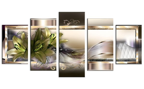 Magic Ribbon Green Blooming Flowers Canvas picture Print Modern Artwork for Wall Home Decor Painting No Fframed
