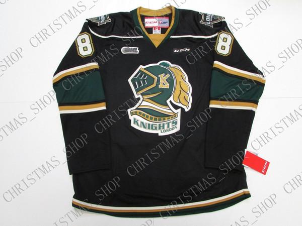 Barato personalizado PATRICK KANE OHL LONDON CABALLOS NEGRO CCM HOCKEY JERSEY punto agregar cualquier número cualquier nombre Mens Hockey Jersey XS-5XL