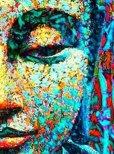 Buntes Gesicht von Buddha (buddhistische Religion) Art Silk Print Poster 24x36 Zoll (60x90 cm) 016
