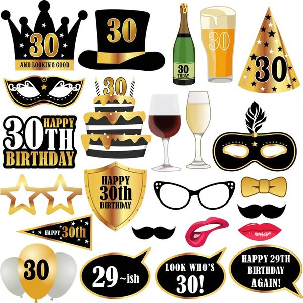 30 Years Old Adult Birthday Party Photo Props 24 Pieces Per Set Makeup Prop Wedding Christmas Halloween Funny Masks Decorations 7 5lz A1