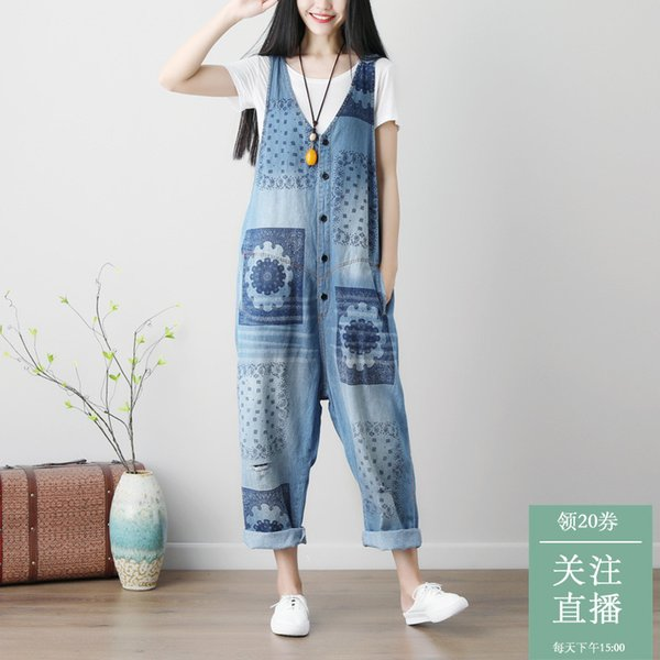 Spring Summer Women's Sleeveless Jumpsuit Overalls Loose Trousers Blue Women Girl Ankle-length Pants Holes Washed Female