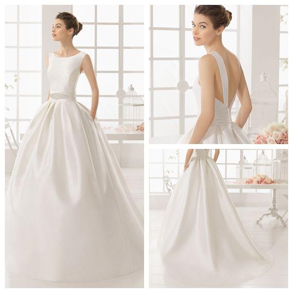 Compre Sencillos Vestidos De Novia Baratos Vintage Royal Satin A Line Vestidos De Novia Sin Espalda Vestidos De Novia Sexy En Blanco Dh4087 A 15076