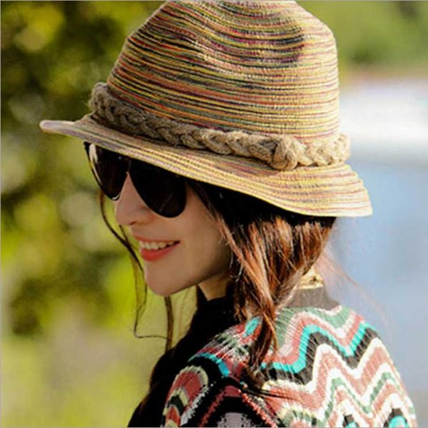 Designer Laides Colorful Wide Brimmed Straw Beach Bucket Hats For Adult Women Foldable Summer Sun Visors UV Protect Woman Honey Fishing Cap