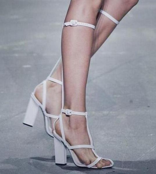 Sıcak Satış-Moda Pist diz Yüksek Gladyatör Sandalet Çizmeler Kadın T-Kayışı Blok Yüksek Topuklu Peep Toe Uzun Sandalet Yaz Büyük boy 43