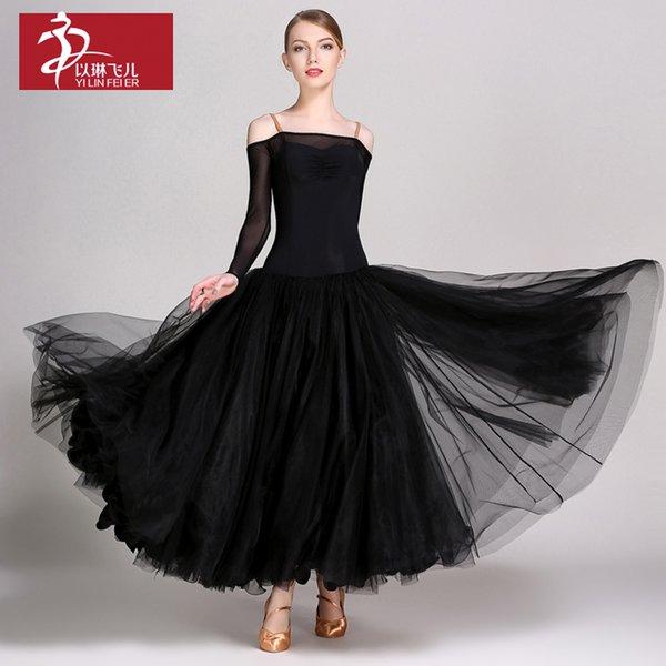 Moda sexy abito moderno con maniche a rete lunghe pratica gonna standard nazionale flamenco spettacolo costume per donna A0015