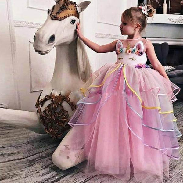 INS unicornio vestidos de los niños muchacha muchachas vestidos de flores de la boda vestido largo princesa tutú muchachas vestido del desfile de ropa niñas adolescentes A9377 menor