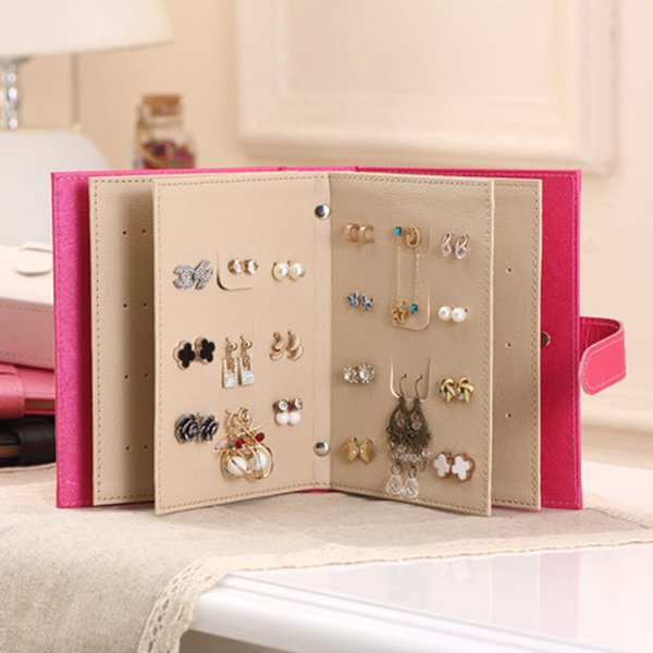 Creative Jewelry Display Holder Jewelry Organizer Women Stud Earrings Collection Book Design PU Leather Earring Storage Box