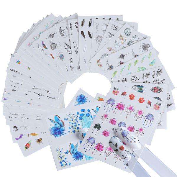 Venda quente 120 pçs / lote Etiqueta Do Prego Verão Projetos Coloridos Conjuntos de Decalques de Transferência de Água Flor / Pena Nail Art Decor Belas Dicas