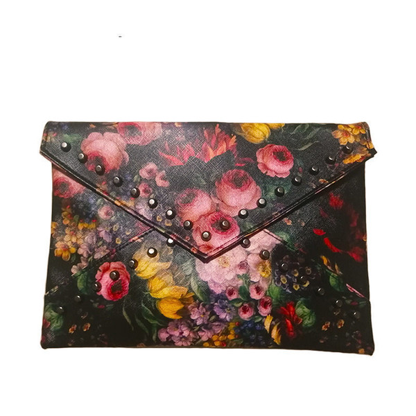 good quality Women Floral Colorful Painting Clutch Bag Rivet Handbags High Quality Pu Leather Envelope Clutch Crossbody Bags For Women