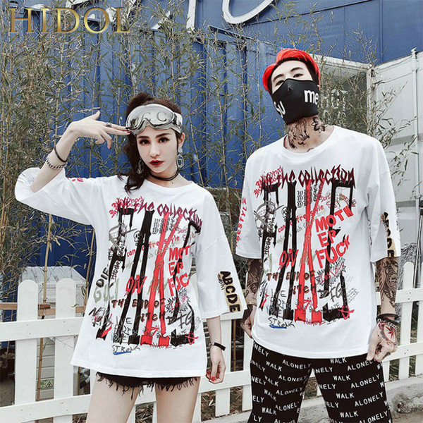 Ins Hot Loose Oversize T-shirt Letter Graffiti Print T shirt Hip Hop Streetwear Short Tshirt Men Brand Clothing Swag Tee white C19010401