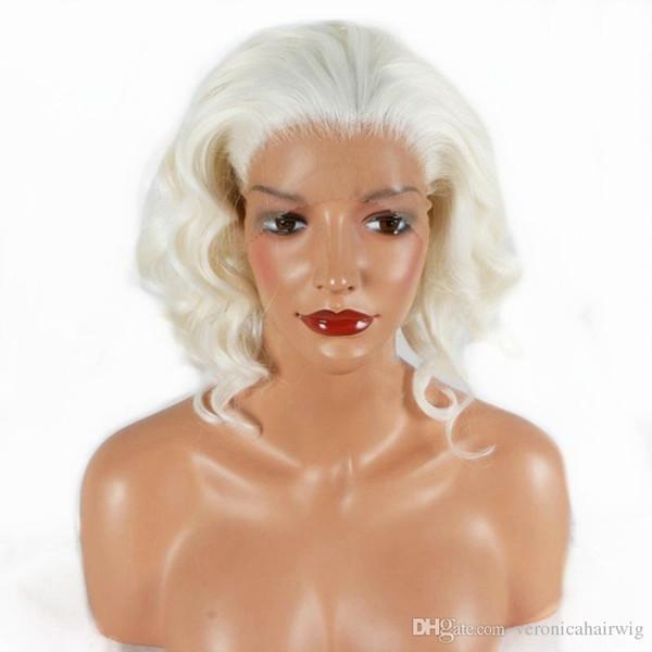 Frete Grátis 14 polegadas Branco Loira Ondulado Curto Peruca Dianteira Do Laço Sintético de Alta Qualidade Pure Color Fibra Resistente Ao Calor Perucas de Cabelo para As Mulheres Brancas