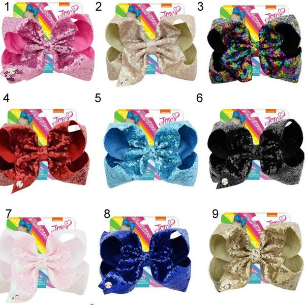 8 pulgadas de pelo grande JOJO Clips de arco Sequense bow with Silver Charm hair Arcos Hairbands Girls Teens Hair Unicorn party hairbands