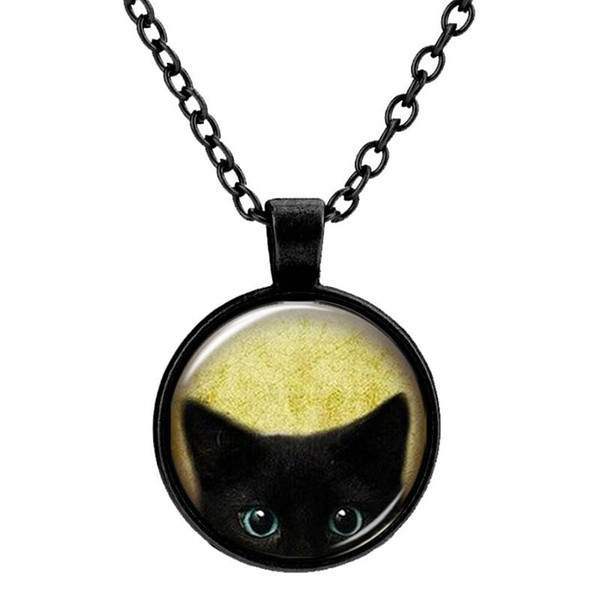 Customized Vintage Glass Cats Charms Necklace Silver Antique Bronze Matt Black Magic Time Gem Pendant Sweater Necklace Gift Jewelry