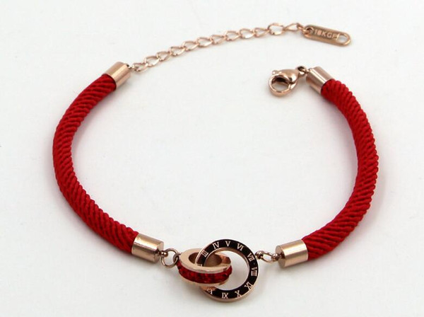 Red rope series Roman numerals square diamond double ring red rope rose gold bracelet This year's Chinese red jewelry