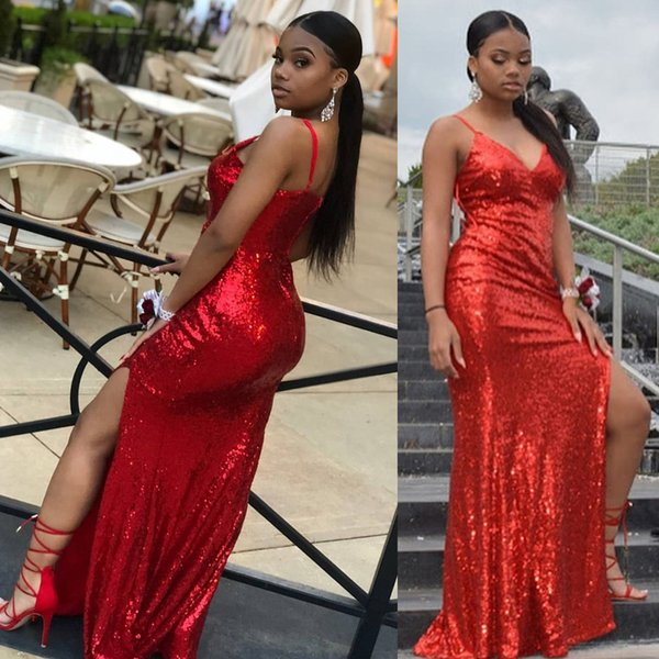 Red Mermaid Prom Dresses Long 2019 Sexy Black Girls Spaghetti Straps Formal Evening Gowns Cocktail Party DP0274