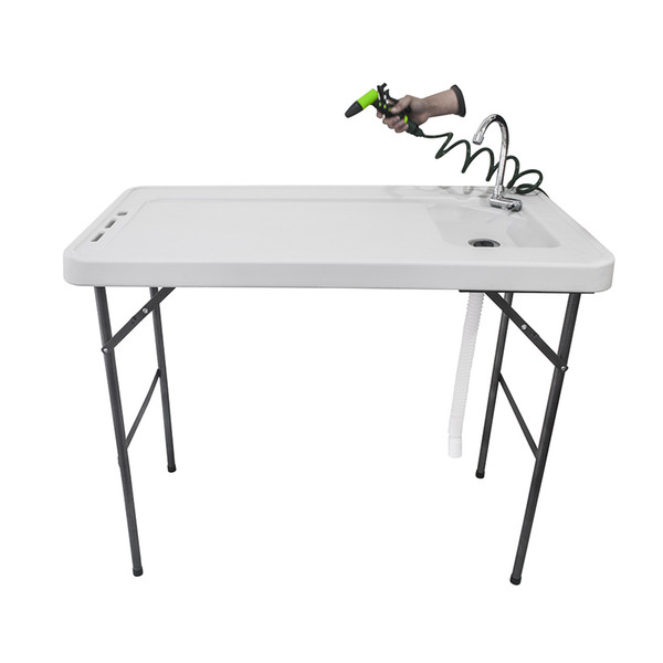 BXTY118 Outdoor Folding Multifunctional Fish Table Picnic Table with Spray Gun & Faucet White